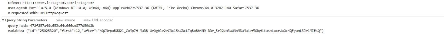 Учимся писать парсеры на примере Instagram: параметры XHR запроса