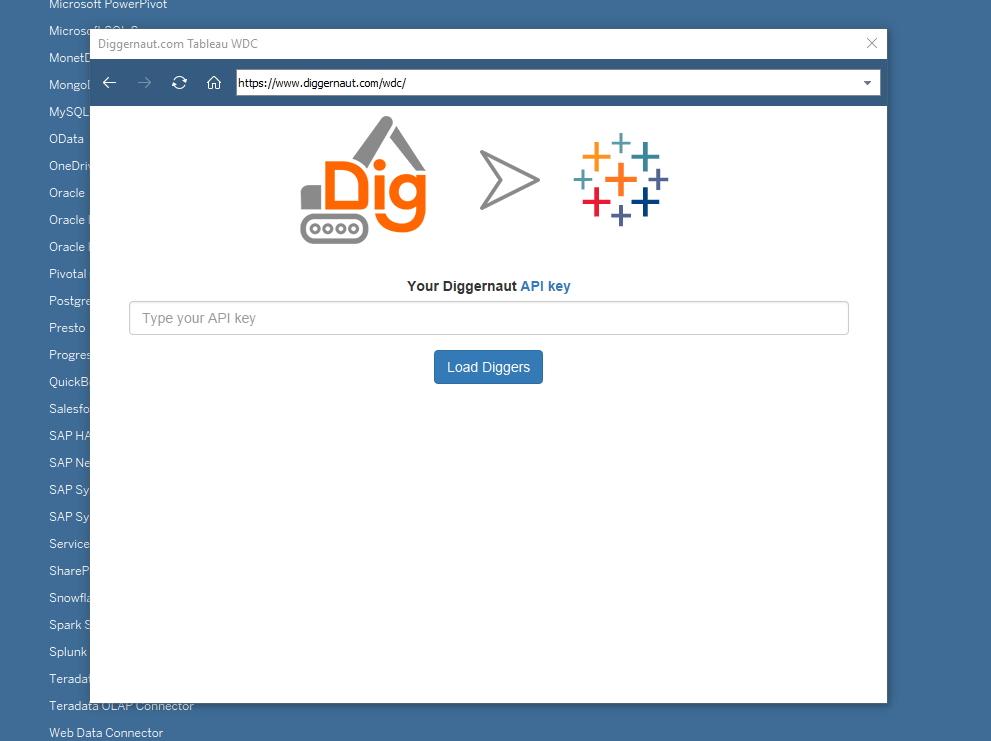 Tableau - Вводим API ключ для Diggernaut REST API